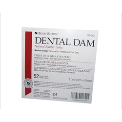 Latex Rubber Dam 5 in x 5 in Thin Gauge Green Box of 52