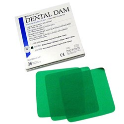 "Henry Schein Latex Rubber Dam 6""x6"" Heavy Green box 36"