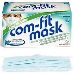 Mask Comfit Tie-On Blue Easy Breathe / Box Of 40